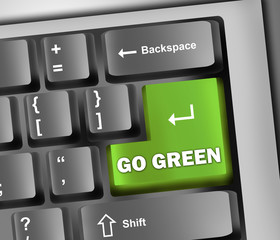 "Keyboard Illustration with ""Go Green"" Button"