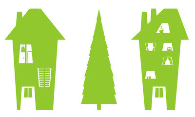 house and tree silhouettes