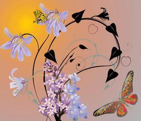 butterflies and lilac flowers at sunset