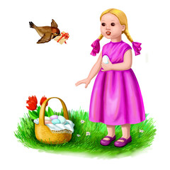 Easter card with girl and bird
