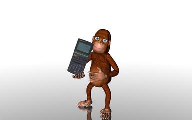 Affe mit Taschenrechner