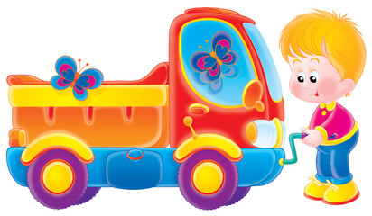 Printed roller blinds Cars Small boy and his truck