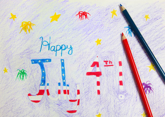 4th of July Drawing and Crayons
