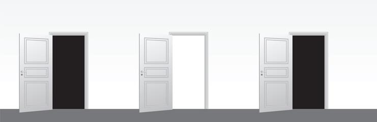 three doors open