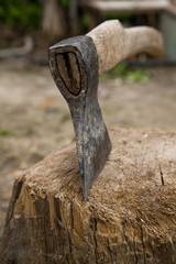 axe  in old used stump