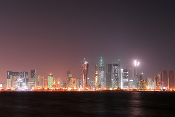 Doha - The capital city of Qatar - Night scene