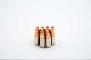 Side view of 14 9 mm bullets