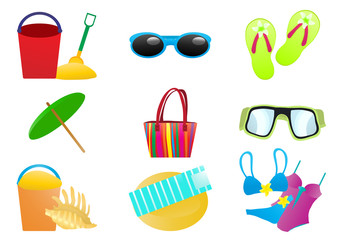 Vector illustration of beach accessories