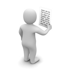 Man holding paper with text. 3d rendered illustration.