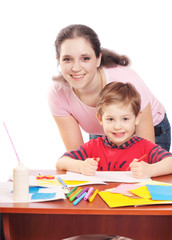 mother and son with drawing