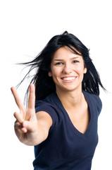 Happy successful latin girl