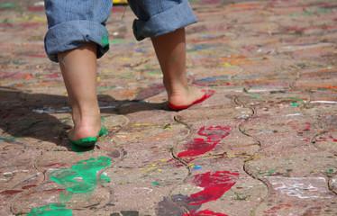 peinture au pied