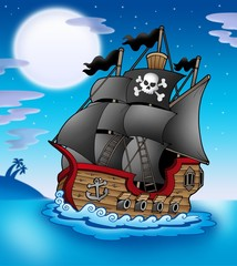 Poster Pirates Pirate vessel at night