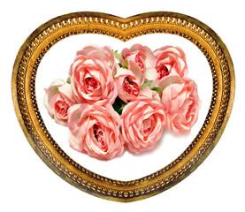 Bouquet de roses dans un cadre en coeur doré