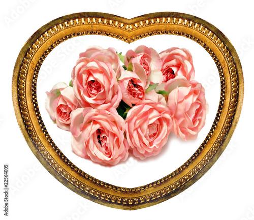 Bouquet De Roses Dans Un Cadre En Coeur Dore Stock Photo And