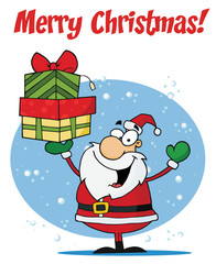 Merry Christmas Greeting With Santa Holding Presents