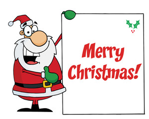 Merry Christmas Greeting With Santa Holding A Sign