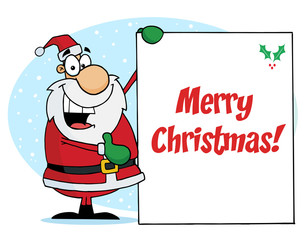 Merry Christmas Greeting With Santa Presenting A Sign