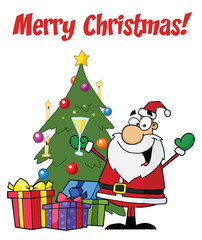 Merry Christmas Greeting With Santa Toasting By A Tree