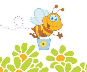Happy Honey Bee Flying With A Bucket Over Flowers
