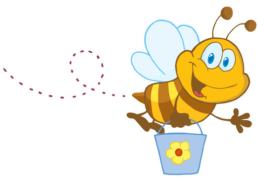 Happy Honey Bee Flying With A Bucket And Waving