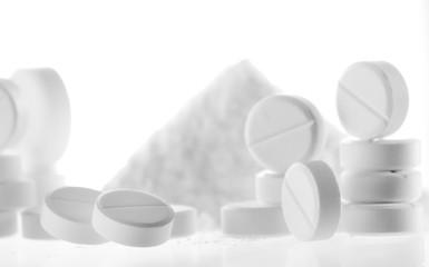 white pills closeup