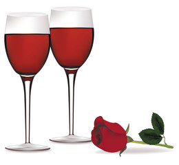Vector. Two glasses of red wine and a beautiful red rose.