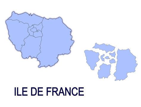carte région ile de france départements contour