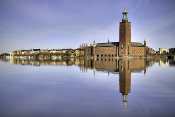 Stockholm City-hall in morninglight.