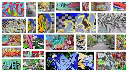 Printed kitchen splashbacks Graffiti collage collage...graffiti