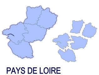 carte région pays de loire France départements contour