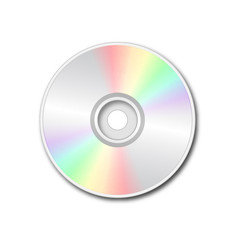 Silver DVD on white background