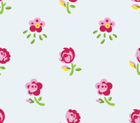 Seamless flowers (blue background)