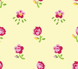 Seamless flowers (yellow background)