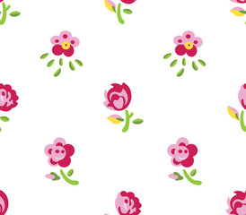 Seamless flowers (white background)