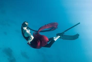mermaid, young women underwater