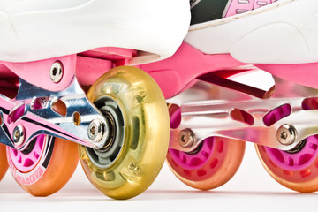 Roller blades close up on a white background