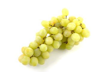 bunch of white grapes over white background