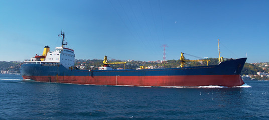 A cargo ship in the Bosphorus