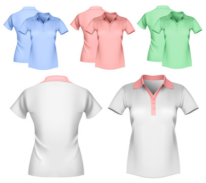 Woman color and white polo shirt design template.