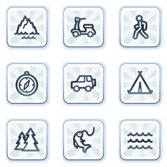 Travel web icons set 3, white square buttons