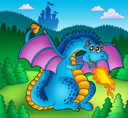 Poster Forest animals Big blue fire dragon with old castle
