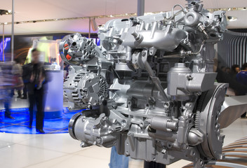 Car engine at the exhibition