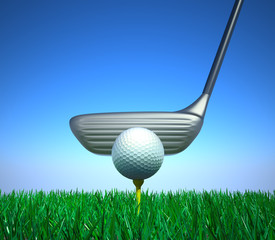 A golf club and a ball