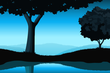 Majestic landscape with tree