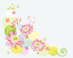 water-colour floral border