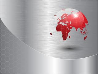 world globe background silver metallic