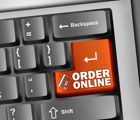 "Keyboard Illustration with ""Order Online"" Button"