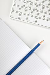 Office desk with keyboard