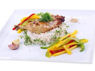 garlic chicken, rice & mango salad isolated on white background